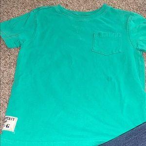 Green pocket tee shirt. Little boys